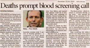 2006.12.22 Deaths prompt blood screening call | SMH