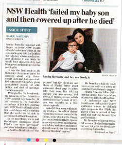 2016.08.05 NSW Health 'failed my baby son and then covered up after he died' | Elijah Slavkovic | The Australian front page