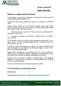 2016.08.08 MEAG MEDIA RELEASE Minister for Health misled Parliament (website)
