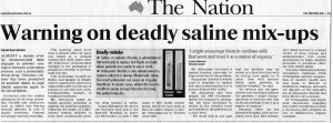 Warning deadly saline