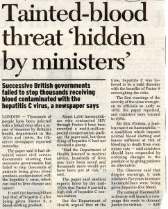 1999.11.22 Tainted blood threat 'hidden by ministers' | GBR