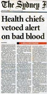 2004.06.12 Health chiefs vetoed alert on bad blood | SMH