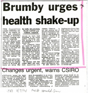08.07.94 Brumby urges health shake-up 241