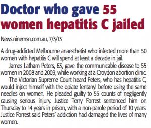 Dr gave 55 women Hep C