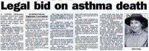 Legal bid on asthma death