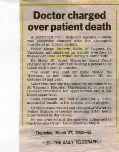 Dr Hollo charged over patient death 70