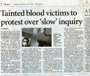 Tainted blood victims to protest over slow inquiry
