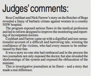 Walkley judges' comments 2008